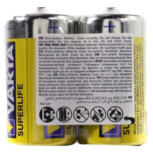 Фото - Батарейка VARTA SUPERLIFE C/R14 2 шт технологическая упаковка r o c s зубочистки джордан карманная упаковка 100 шт