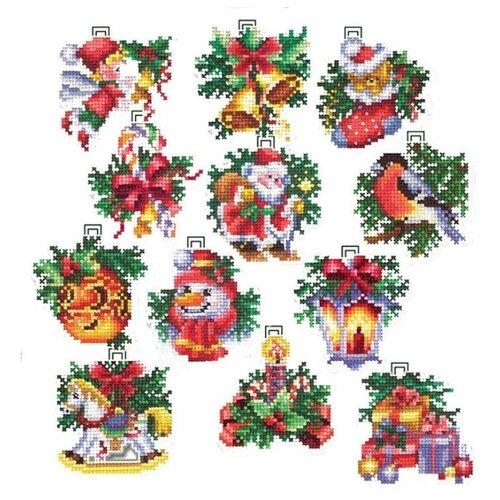 Купить Сделай своими руками Набор для вышивания Новогодние игрушки 6 х 6 см 12 шт (Н-17), Наборы для вышивания