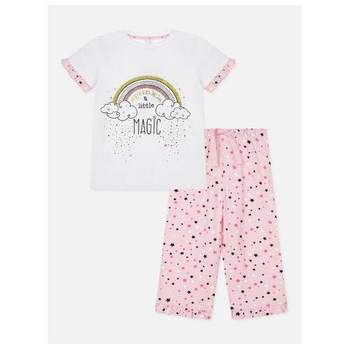 Купить Пижама playToday размер 98, белый/розовый, Домашняя одежда