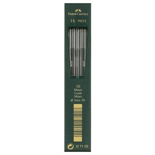 Фото - Faber-Castell Грифели для цанговых карандашей TK 9071, 2,0 мм, 3B, 10 штук черный канцелярия faber castell грифели для механических карандашей polymer 0 7 мм hb 12 шт