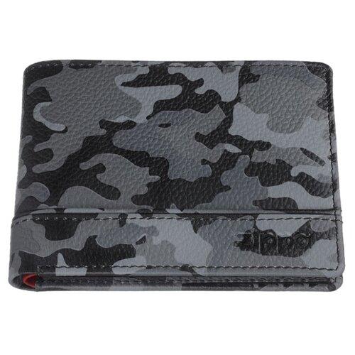 Портмоне ZIPPO, серо-чёрный камуфляж, натуральная кожа, 11,2×2×8,2 см