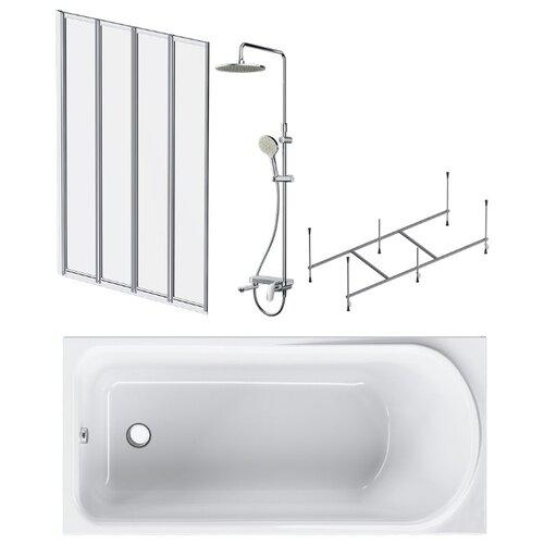 Ванна комплект Like W80ASET-150AC 4в1: ванна, каркас, душевая система, шторка на борт ванны