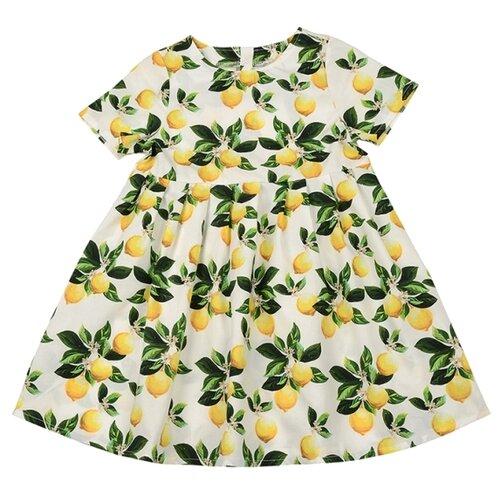Платье Mini Maxi размер 116, желтый/белый платье oodji ultra цвет красный белый 14001071 13 46148 4512s размер xs 42 170