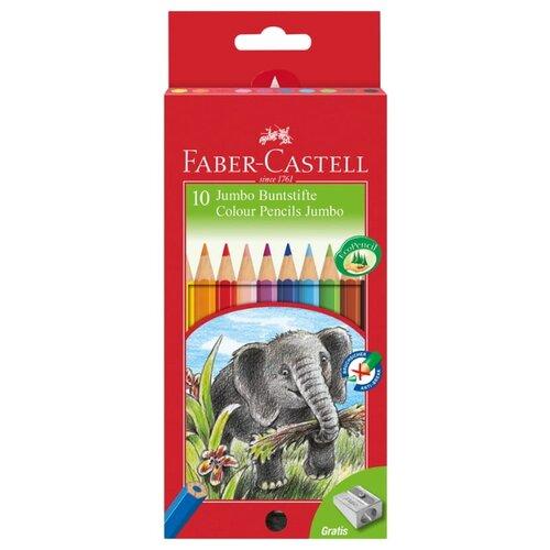 Faber-Castell Цветные карандаши Jumbo утолщенные с точилкой 10 цветов (111210) faber castell цветные карандаши faber castell jumbo grip metallic 5 цветов