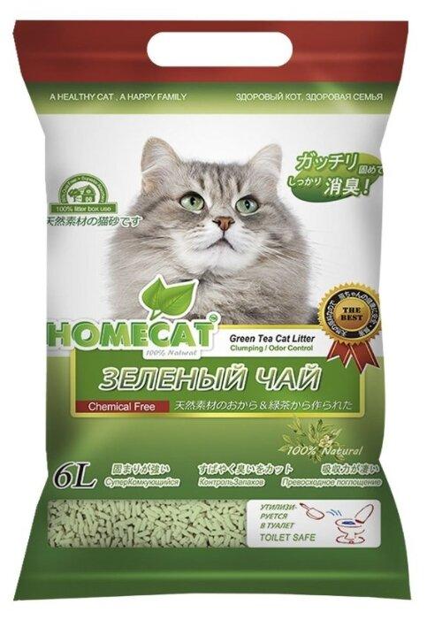 Комкующийся наполнитель Homecat Эколайн Зеленый чай 6 л