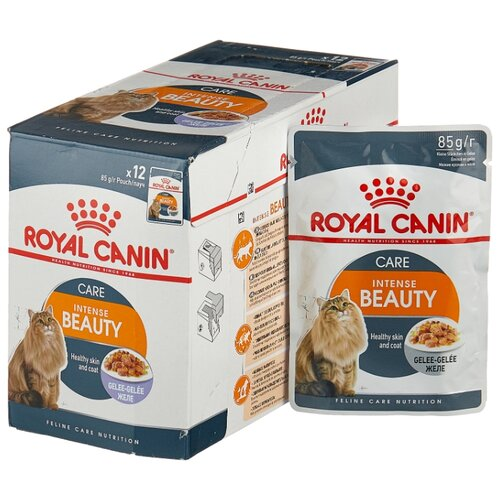 Корм для кошек Royal Canin Intense Beauty для профилактики МКБ, мясное ассорти, рыбное ассорти 12шт. х 85 г (кусочки в желе) kittens food royal canin british shorthair kitten 10 kg cat wet food royal canin intense beauty pieces in jelly 24 85 g