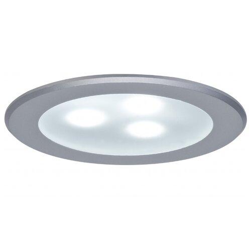 Светильник встраиваемый круглый мебельный LED 3x3W алюминий (транс 12VA) (cd 70) 6500К 98351