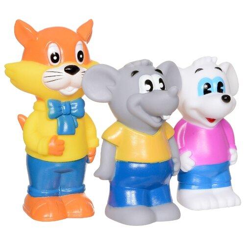 Купить Набор для ванной Играем вместе Кот Леопольд и 2 мышонка (102R-PVC) белый/серый/желтый/синий, Игрушки для ванной