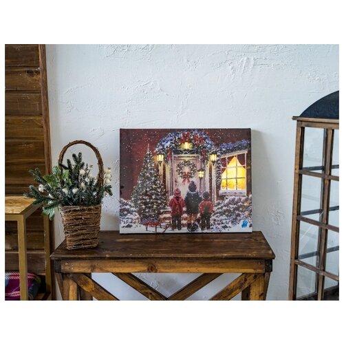 Светящееся панно ДВЕРЬ В РОЖДЕСТВО, 9 тёплых белых LED-огней, 38х48 см, батарейки, Kaemingk светящееся панно баночка снеговичков merry christmas mdf 5 тёплых белых led огней 17x27 см таймер батарейки kaemingk