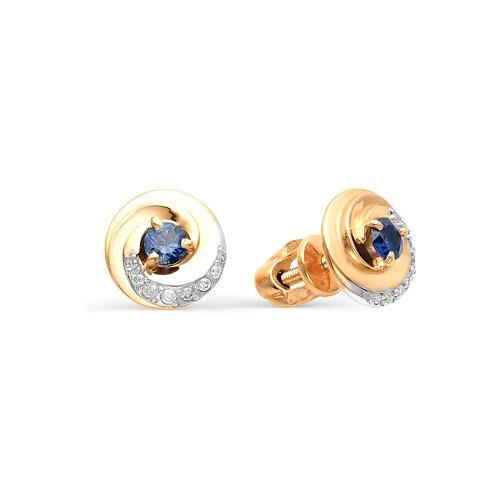Мастер Бриллиант Золотые серьги с сапфиром, бриллиантом 2-104-271-02