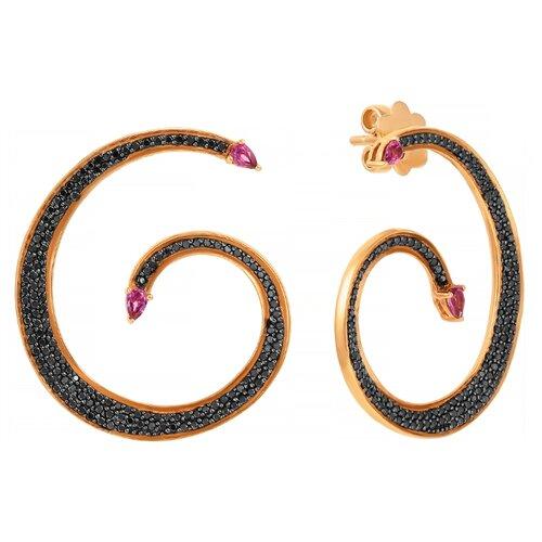 JV Серьги из розового золота 585 пробы и розового золота 375 пробы с родолитами и бриллиантами RE6967-DB-RH-PINK
