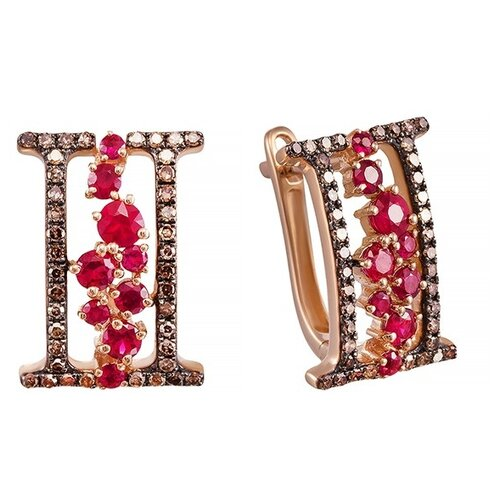 JV Серьги из розового золота 585 пробы с рубинами и бриллиантами E34127R-SR-DN-RU-PINK