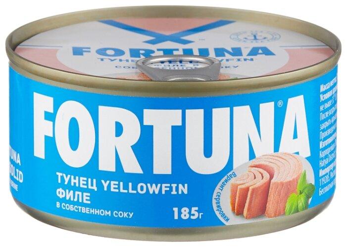 Fortuna Тунец yellowfin филе в собственном соку, 185 г