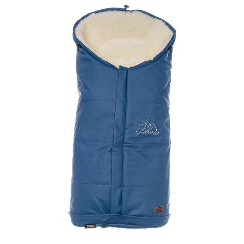Купить Конверт-мешок Nuovita Siberia Lux Bianco меховой 90 см темно-синий, Конверты и спальные мешки