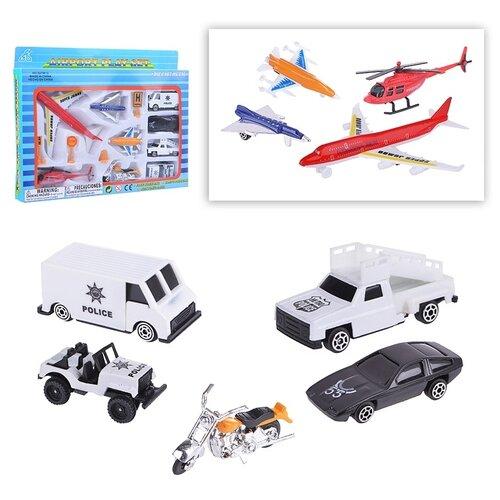 Купить Набор машин Oubaoloon машинки, мотоцикл, вертолет, самолеты, металл, в коробке (927W13), Машинки и техника