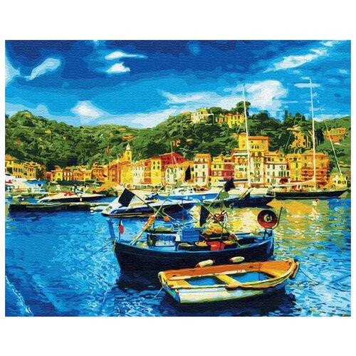 Купить Картина по номерам Цветной Средиземноморский причал , 40x50 см, Картины по номерам и контурам
