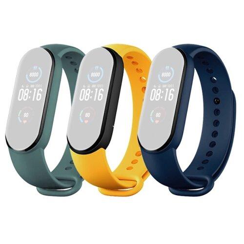 Ремешок д/Mi Smart Band 5 Strap (3-Pack) Navy Blue/Yellow/Mint Green (BHR4640GL) по цене 990