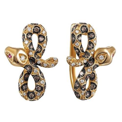 JV Золотые серьги с бриллиантами, сапфиром E28563R-DN-PS-YG