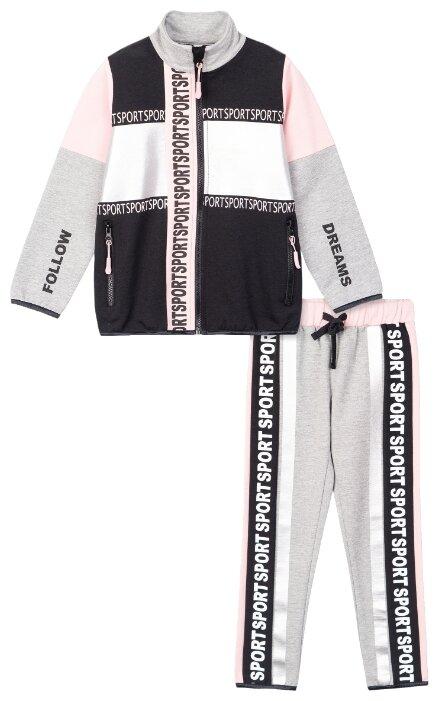 Спортивный костюм playToday размер 158, светло-розовый/черный/серый