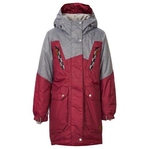 Куртка Oldos размер 134, бордовый/серый меланж