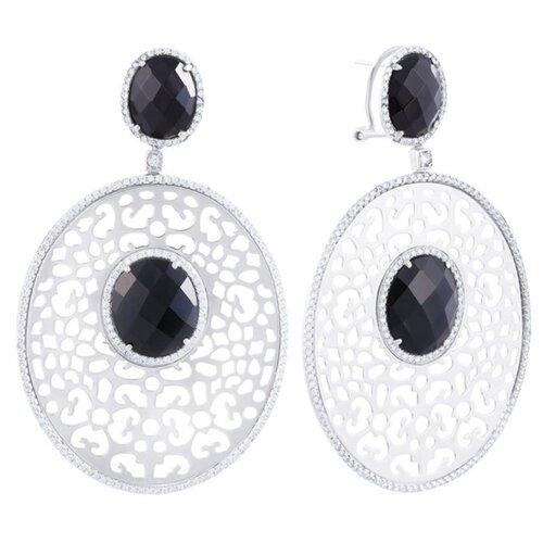 Фото - JV Серебряные серьги с кубическим цирконием, ониксом AES34100W-OX-001-WG jv серебряные серьги с ониксом 0026106935 sr ox wg