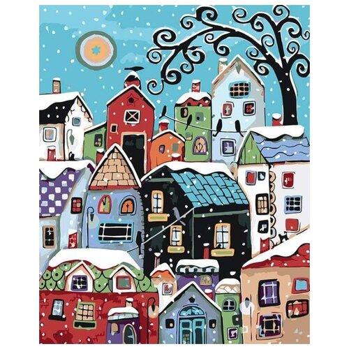 Купить Картина по номерам Живопись по Номерам Зимний городок , 40x50 см, Живопись по номерам, Картины по номерам и контурам