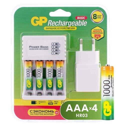 Фото - Аккумулятор Ni-Mh 1000 мА·ч GP Rechargeable 1000 Series AA + Зарядное устройство USB CPB + Адаптер 1A, 4 шт. аккумулятор ni mh 950 ма·ч gp rechargeable 1000 series aaa 6 шт