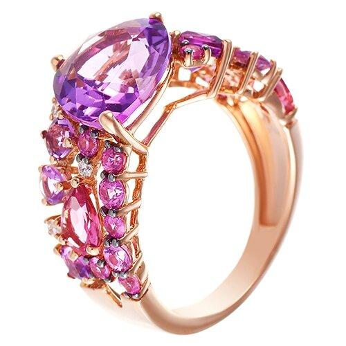 JV Кольцо из розового золота 585 пробы с аметистами, бриллиантами, сапфирами и турмалинами RG-33242-KO-PS-AM-TU-PINK, размер 17.5