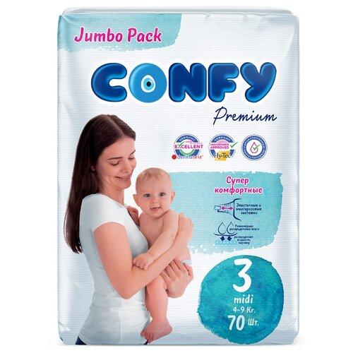 Купить CONFY подгузники Premium 3 (4-9 кг) 70 шт., Подгузники