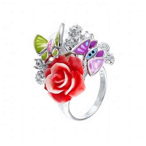 JV Серебряное кольцо с жемчугом, фианитом, эмалью SE2191-R-KO-WP-CI-ENAM-001-WG, размер 18