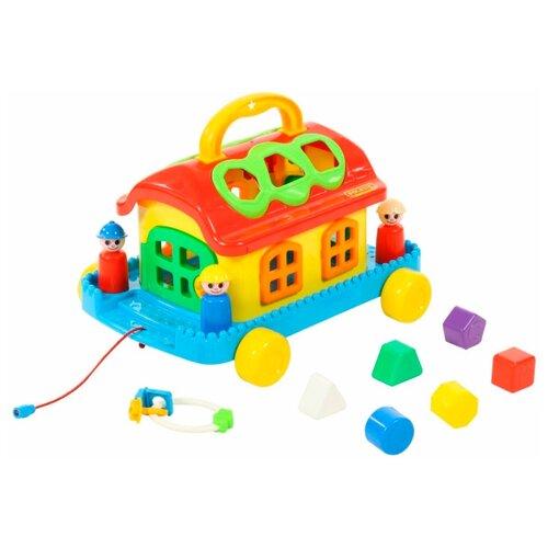 Каталка-игрушка Полесье Сказочный домик на колесиках (70999) голубой/желтый/красный каталка игрушка полесье биосфера котёнок 54456