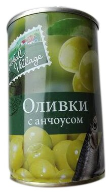 Global Village Оливки зеленые с анчоусом, жестяная банка 300 г