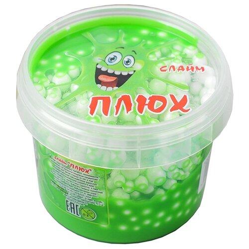 Лизун Плюх с шариками в тубе зеленый