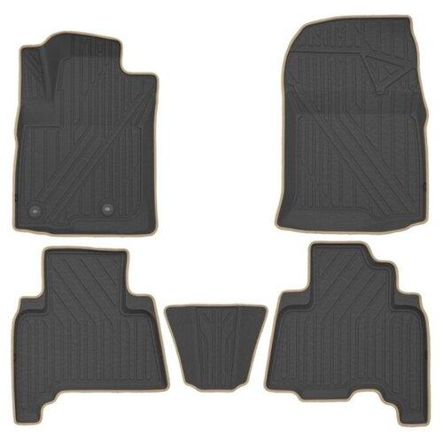Комплект ковриков KVEST KVESTTYT00002K для Toyota Land Cruiser Prado 5 шт. черный/бежевый кант