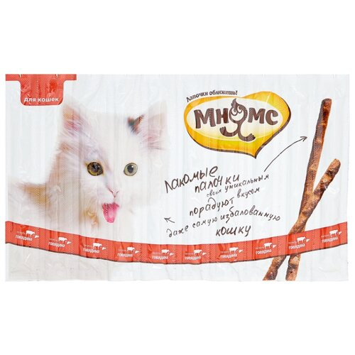 Лакомство для кошек Мнямс Лакомые палочки Говядина, печень, 5 г х 10 уп.
