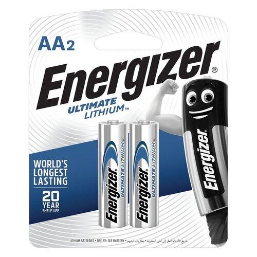 Фото - Батарейки КОМПЛЕКТ 2 шт., ENERGIZER Ultimate Lithium, AA (FR06, 15А), литиевые, пальчиковые, блистер, 639154 батарейка energizer ultimate lithium aa 4 шт
