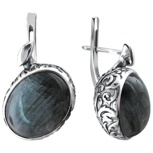 Эстет Серебряные серьги с перламутр К3С453395АЧ