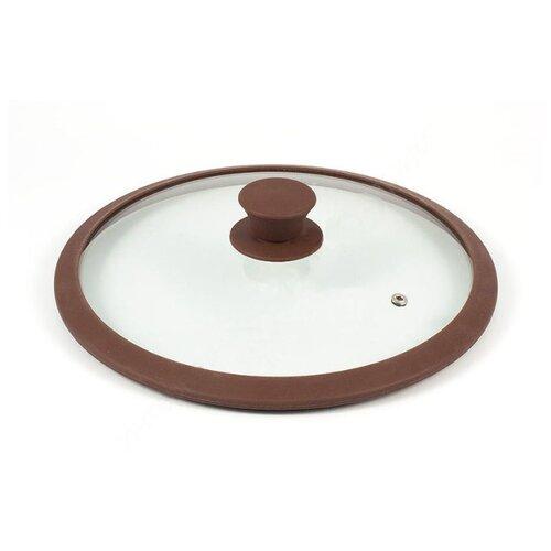 Крышка TimA стеклянная с силиконовым ободом 4828BR/BL (28 см) прозрачный/коричневый