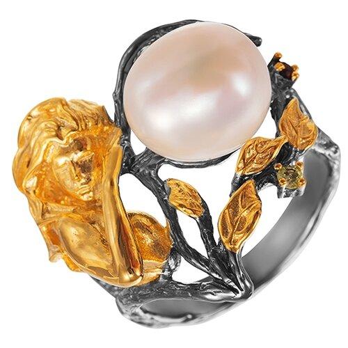 ELEMENT47 Кольцо из серебра 925 пробы с гранатами, перидотами и барочным жемчугом YR00886_KO_GR_PD_WB_001_BJ, размер 17.5