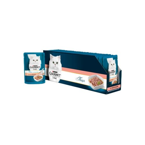 Корм для кошек Gourmet Перл соус де-люкс с лососем 24шт. х 85 г (кусочки в соусе) корм для кошек gourmet перл с говядиной 24шт х 85 г кусочки в соусе