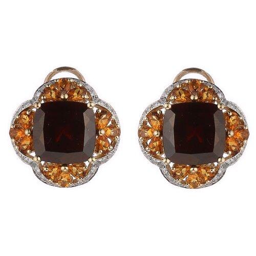 JV Золотые серьги с цитрином, гранатом, бриллиантами WE01276K-1-SR-CT-GR-YG