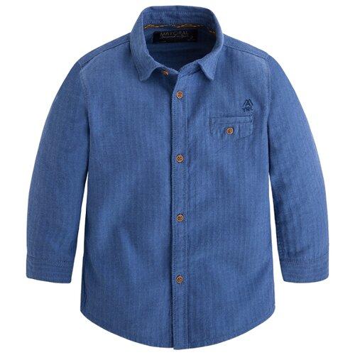 рубашка для мальчика mayoral цвет молочный 3144 35 5h размер 116 6 лет Рубашка Mayoral размер 116, синий