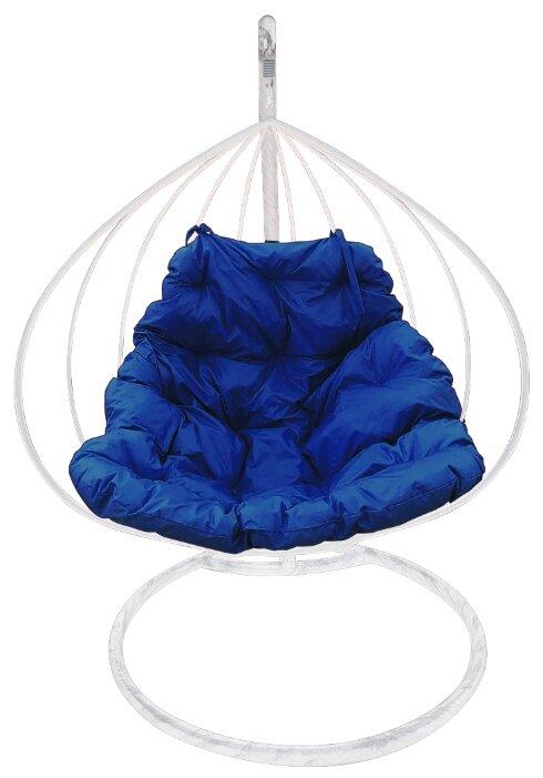 """Купить Белое подвесное кресло """"для двоих"""" с синей подушкой по низкой цене с доставкой из Яндекс.Маркета"""