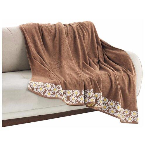Покрывало Allegro Ромашки махровое, 200 х 220 см, коричневый