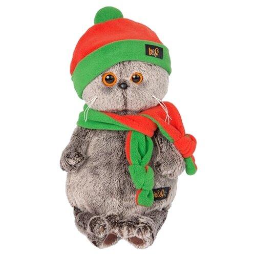 Купить Мягкая игрушка Basik&Co Кот Басик в оранжево-зеленой шапке и шарфике 22 см, Мягкие игрушки