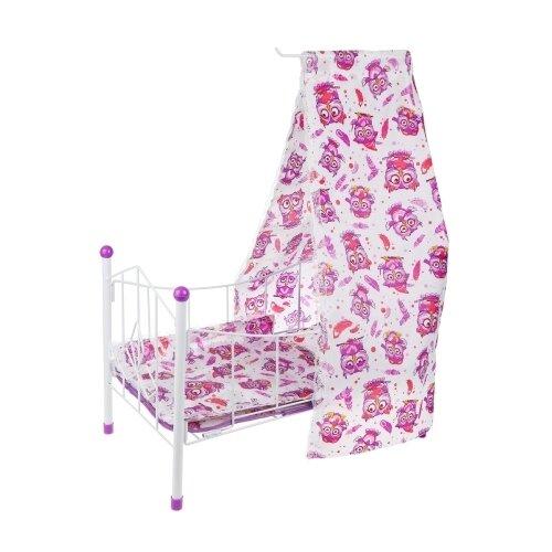 Yako Кроватка для куклы с балдахином Совушка (M0611-11) белый/фиолетовый