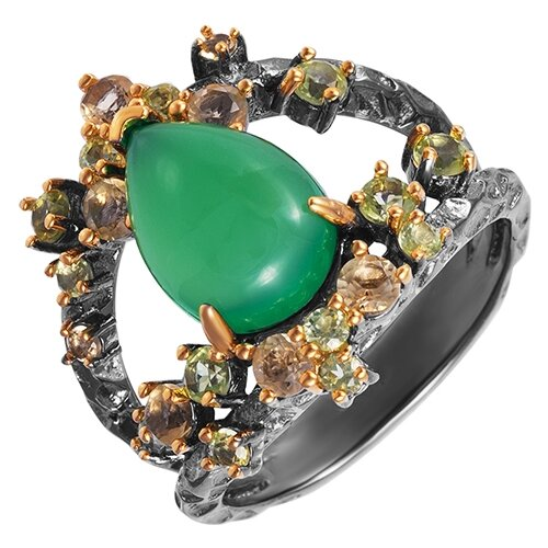 ELEMENT47 Широкое ювелирное кольцо из серебра 925 пробы с агатом, перидотами и цитринами YR00850_KO_CT_PD_ZAG_BJ, размер 17