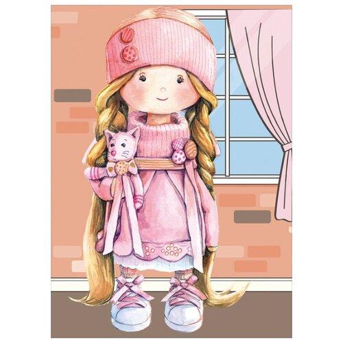 Алмазная вышивка Цветной Куколка в розовом, 40x30