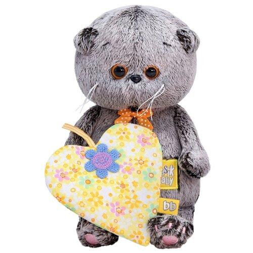 Купить Мягкая игрушка Basik&Co Кот Басик baby с жёлтым сердечком с цветочками 20 см, Мягкие игрушки
