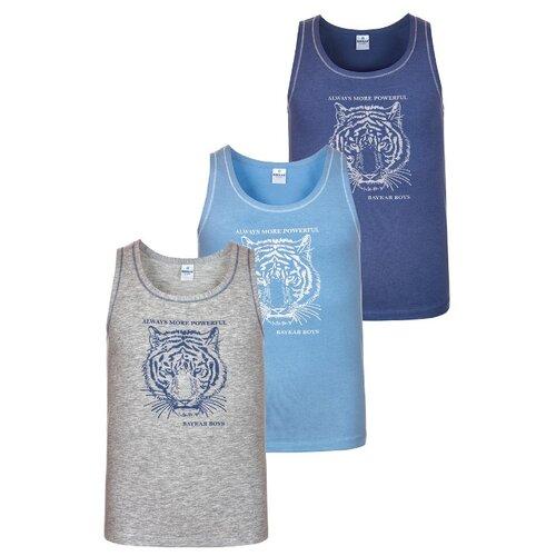 Майка BAYKAR 3 шт., размер 158/164, серый/голубой/синий, Белье и пляжная мода  - купить со скидкой